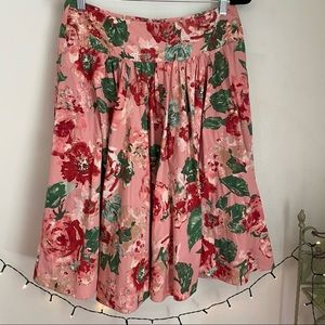 Talbots Pink Floral Full Skirt Green Fully lined